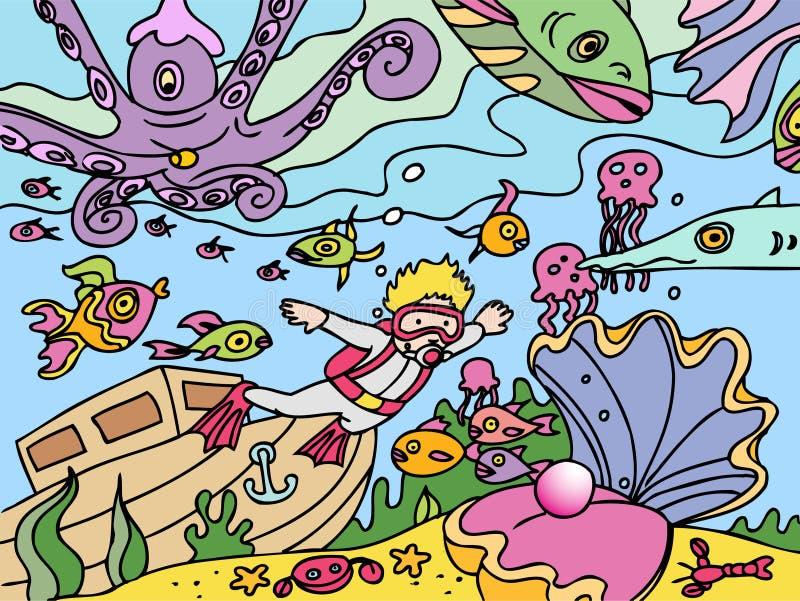 dziecka pikowanie idzie akwalung royalty ilustracja