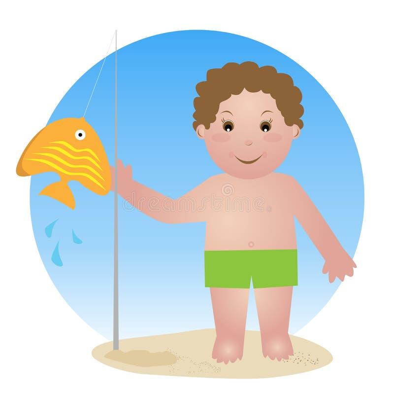 dziecka połowu prącie ilustracja wektor