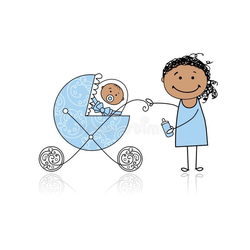 dziecka powozika matki odprowadzenie ilustracji