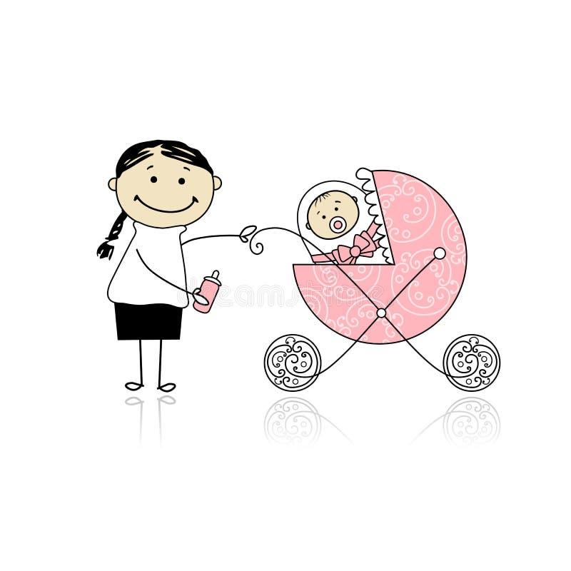 dziecka powozika matki odprowadzenie ilustracja wektor