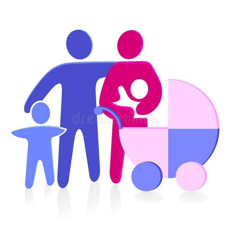 dziecka powozika rodzina ilustracja wektor