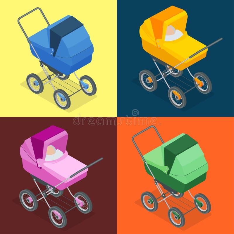 Dziecka pram, pushchair, spacerowicz, perambulator Wektorowa 3d płaska isometric ilustracja royalty ilustracja