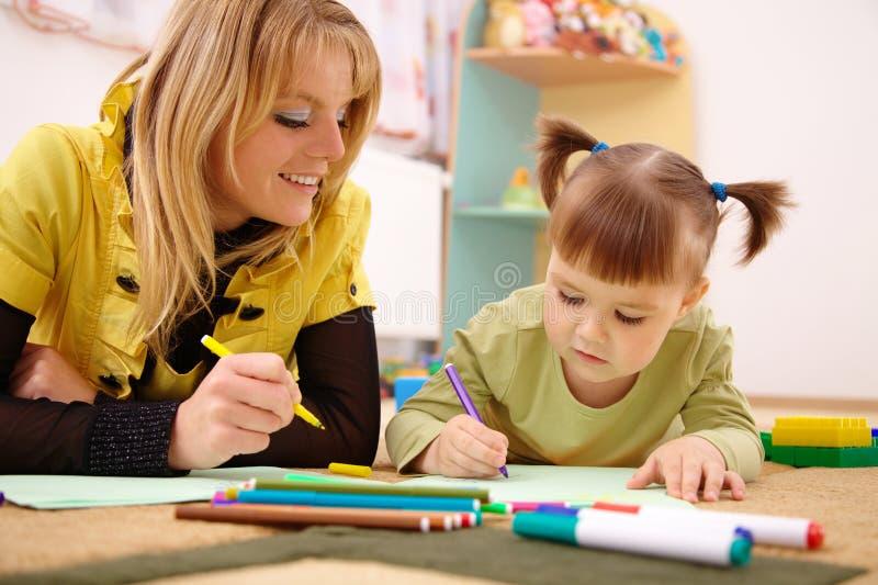 dziecka preschool nauczyciel zdjęcia stock