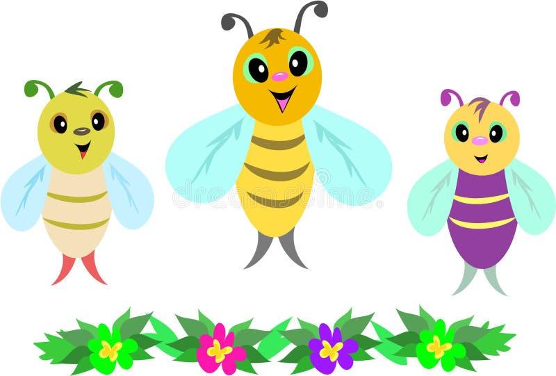 dziecka pszczół kwiatów rząd trzy ilustracji