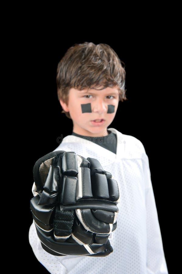 dziecka rękawiczki gracz w hokeja zdjęcia stock