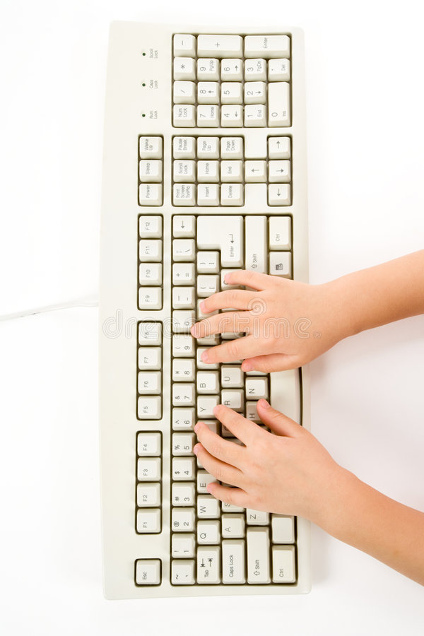 dziecka ręki klawiatura zdjęcie stock