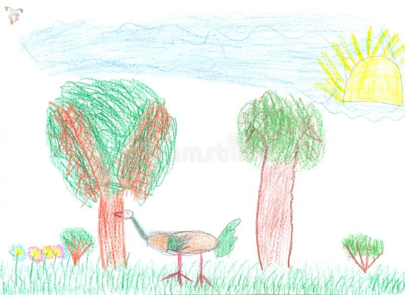 dziecka rysunku farby ołówek ilustracja wektor