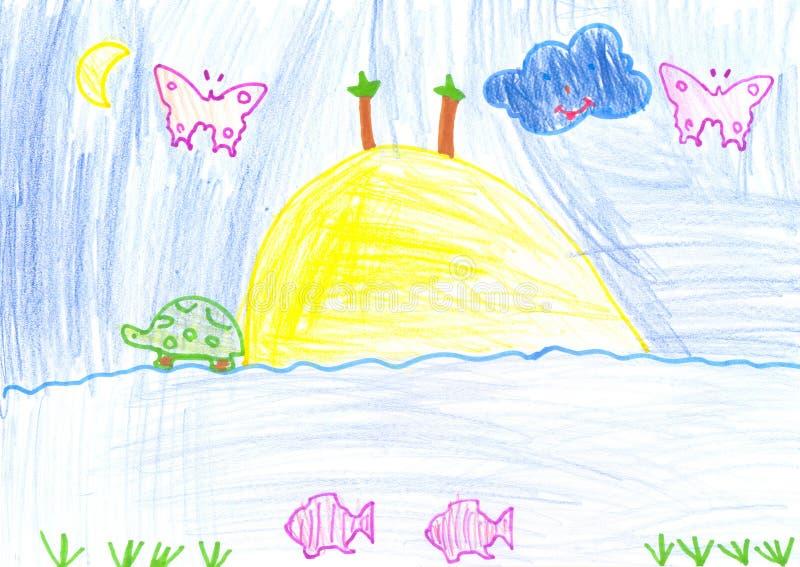 dziecka rysunku farby ołówek ilustracji