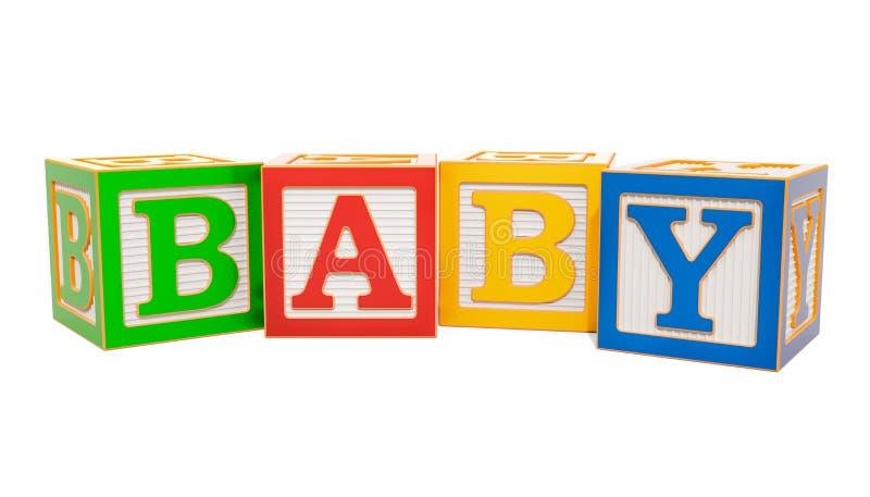 Dziecka słowo od abc abecadła drewnianych bloków, 3D rendering ilustracji