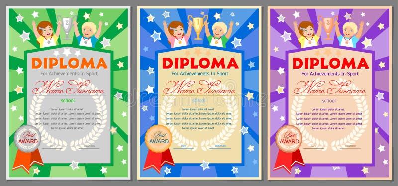 Dziecka ` s bawi się dyplom dla 1st, 2nd i 3rd miejsc, ilustracja wektor