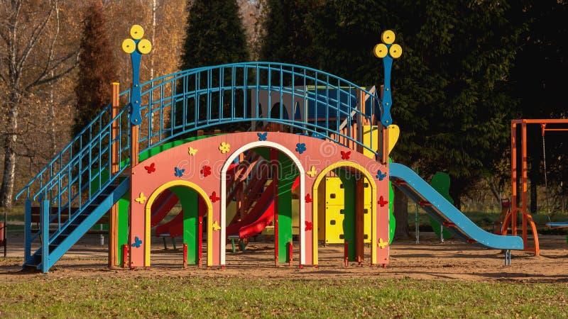 Dziecka ` s boisko w parku w jesieni zdjęcia royalty free