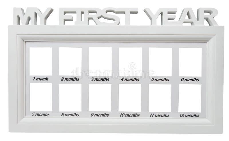 Dziecka ` s fotografii biała rama Mój pierwszy rok na odosobnionym tle 12 dwanaście miesięcy set ilustracji