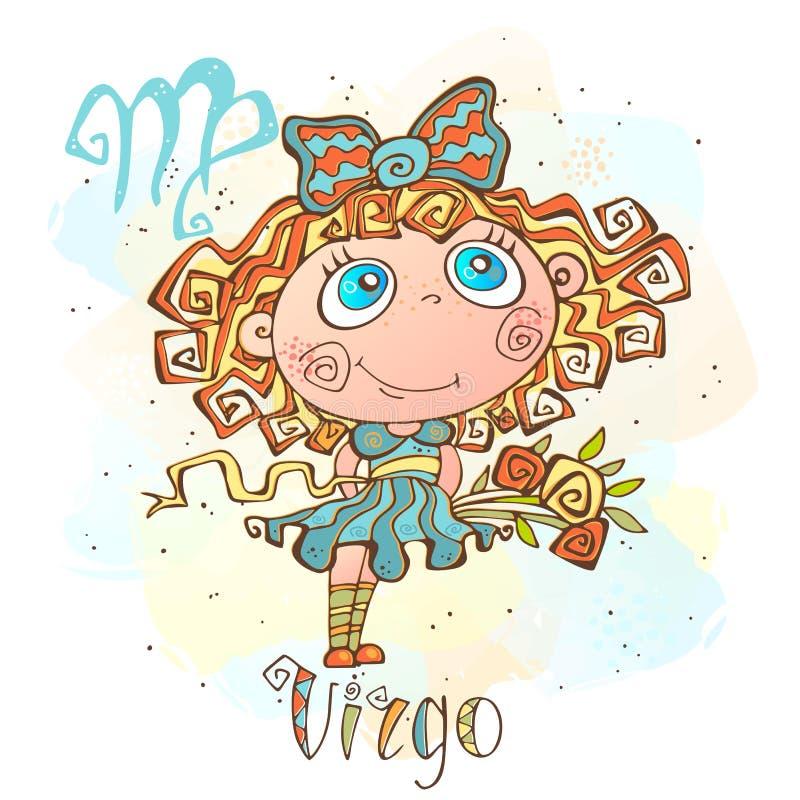 Dziecka ` s horoskopu ikona Zodiak dla dzieciaków Virgo znak wektor Astrologiczny symbol jako postać z kreskówki ilustracja wektor