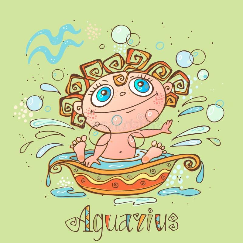 Dziecka ` s horoskopu ikona Zodiak dla dzieciaków Aquarius znak wektor Astrologiczny symbol jako postać z kreskówki ilustracja wektor