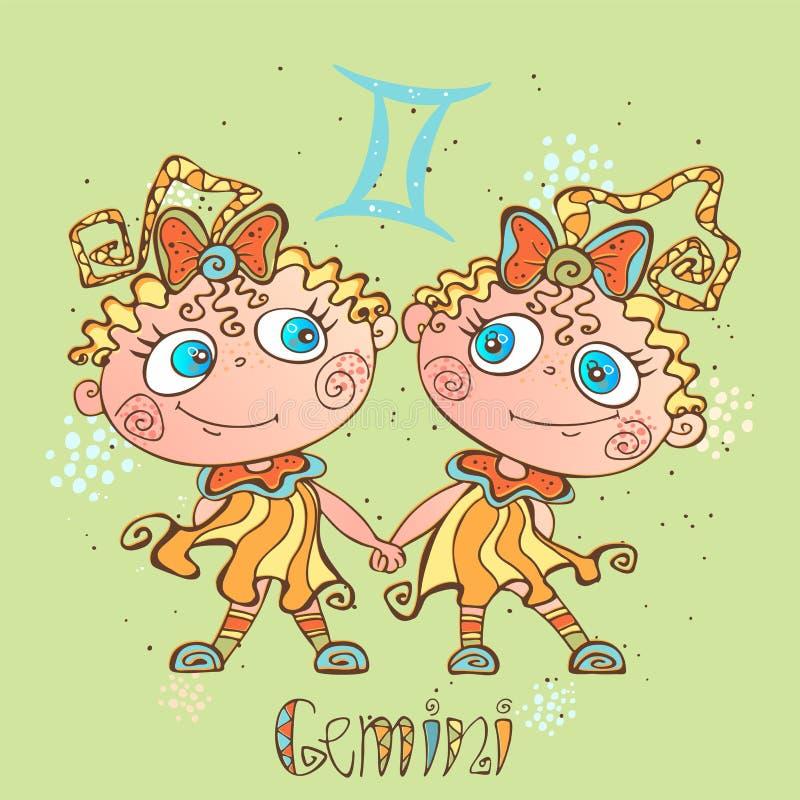 Dziecka ` s horoskopu ikona Zodiak dla dzieciaków Gemini znak wektor Astrologiczny symbol jako postać z kreskówki royalty ilustracja