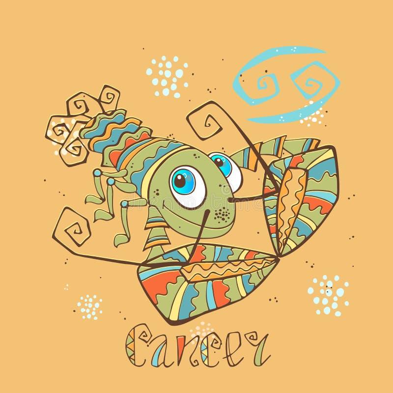 Dziecka ` s horoskopu ikona Zodiak dla dzieciaków Nowotworu znak wektor Astrologiczny symbol jako postać z kreskówki ilustracja wektor