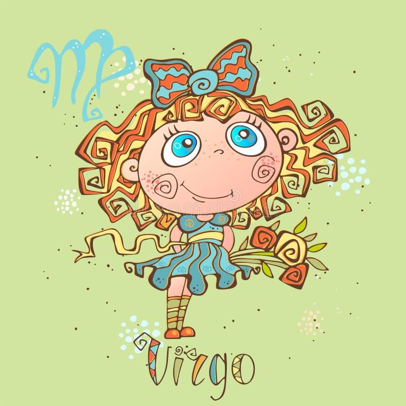 Dziecka ` s horoskopu ikona Zodiak dla dzieciaków Virgo znak wektor Astrologiczny symbol jako postać z kreskówki ilustracji