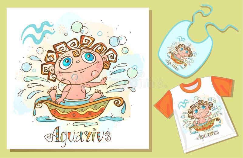 Dziecka ` s horoskopu ikona Zodiak dla dzieciak?w Aquarius znak wektor Astrologiczny symbol jako posta? z kresk?wki ilustracji