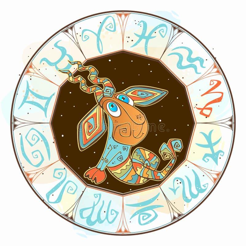 Dziecka ` s horoskopu ikona Zodiak dla dzieciak?w Capricorn znak wektor Astrologiczny symbol jako posta? z kresk?wki royalty ilustracja