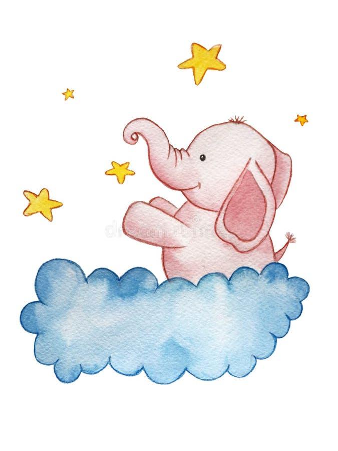 Dziecka ` s książkowa ilustracja, różowy słoń na chmurze ilustracji