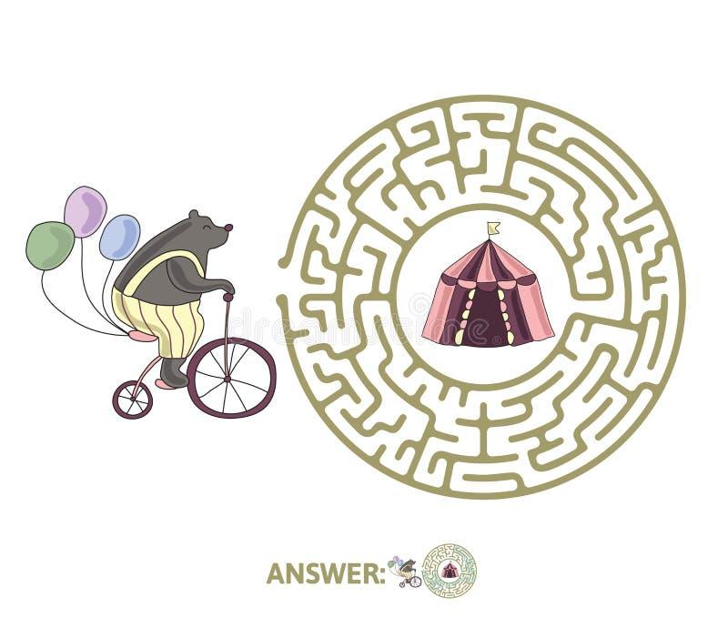Dziecka ` s labirynt z niedźwiedziem na cyrkowym namiocie i rowerze Intryguje grę dla dzieciaków, wektorowa labitynt ilustracja ilustracja wektor