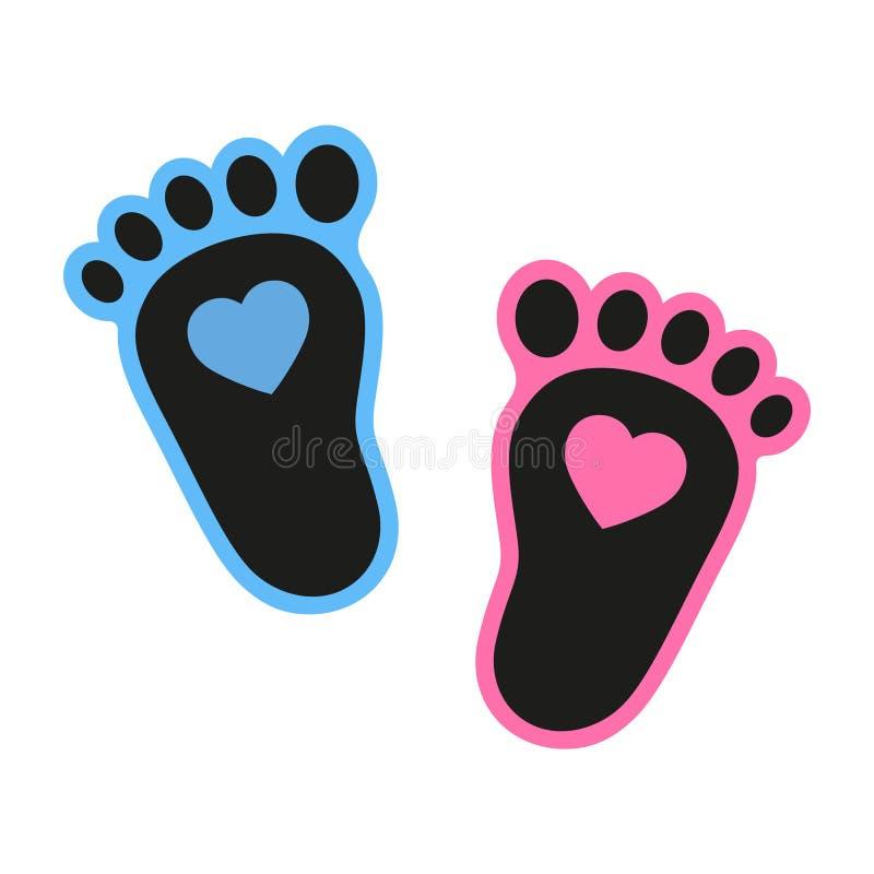 Dziecka ` s odcisków stopy ikona z sercem Abstrakcjonistyczny pojęcie Płaski projekt ilustracja wektor