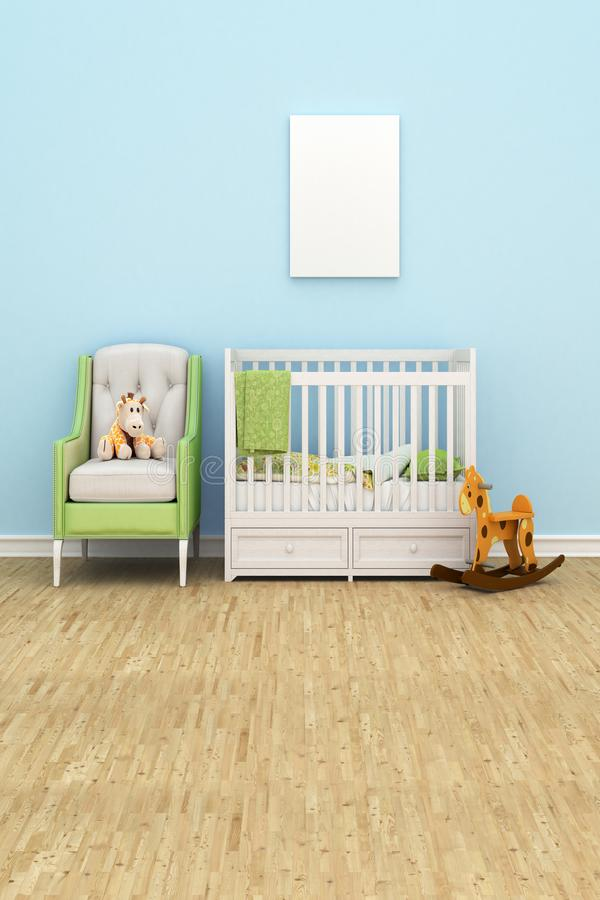 Dziecka ` s pokój z łóżkiem, kanapa, zabawki, pusty biały obraz dla ilustracja wektor