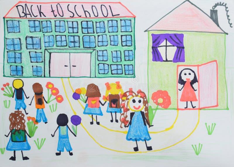 Dziecka ` s rysunek: dzieci z kwiatami i torbami iść szkoła tylna koncepcji do szkoły royalty ilustracja