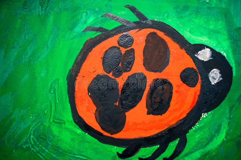 dziecka ` s rysunek insekt biedronka obrazy royalty free