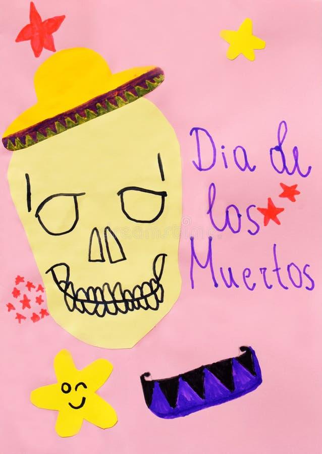 Dziecka ` s rysunek: kartka z pozdrowieniami z czaszką w kapeluszu, ręka rysujący literowanie, gra główna rolę na różowym tle Dia obrazy royalty free