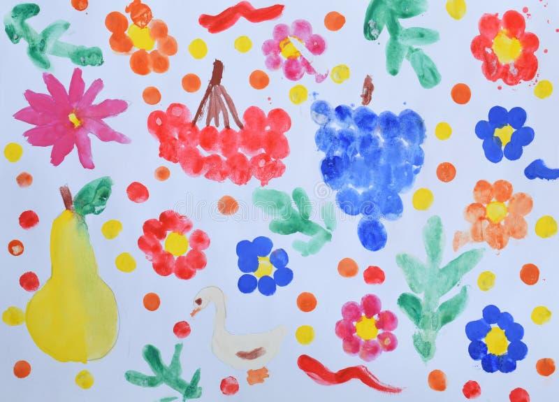 Dziecka ` s rysunek: wciąż życie winogrona, viburnum, bonkrety, kwiaty i liście, adobe korekcj wysokiego obrazu photoshop ilości  obrazy royalty free