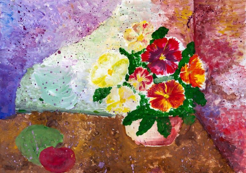 Dziecka ` s rysunek Wciąż życie z doniczkowymi kwiatami i jabłkiem ilustracji