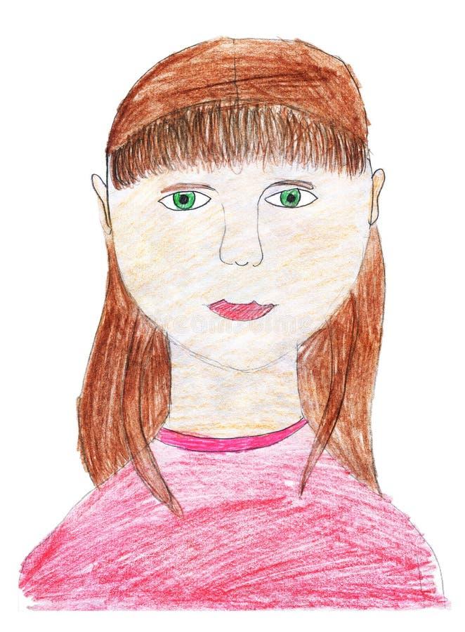 Dziecka ` s rysunek z barwionymi o??wkami Portret uśmiechnięta dziewczyna z jej włosy luźnym pojedynczy bia?e t?o ilustracji