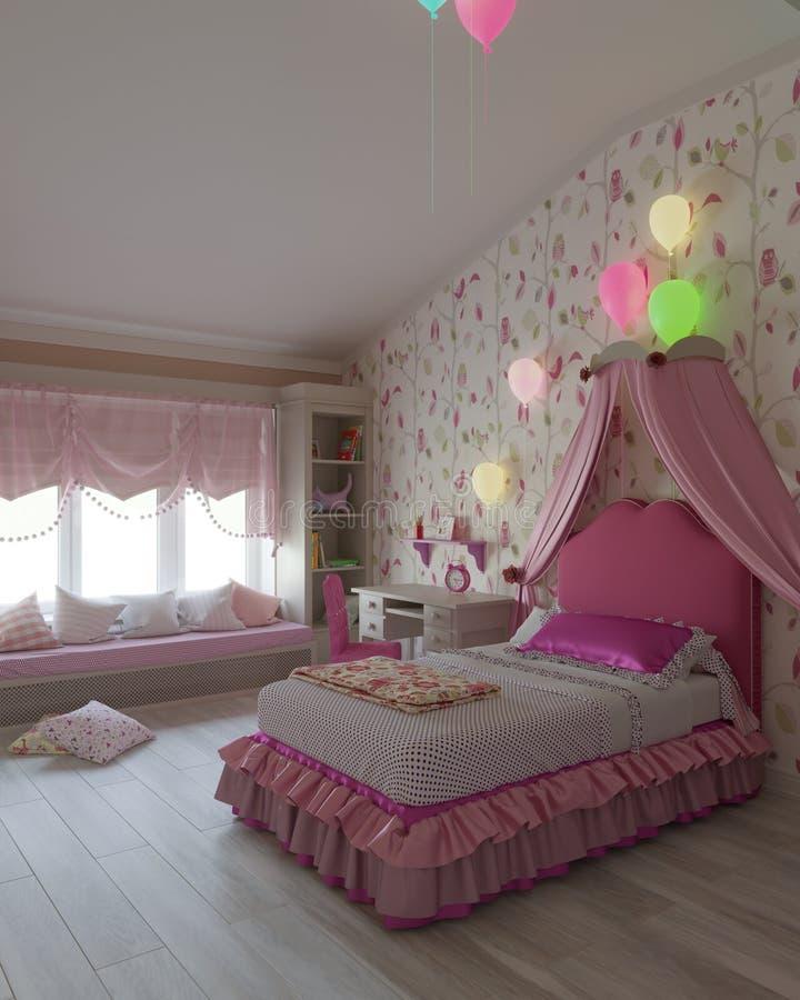 Dziecka ` s sypialnia w menchia kolorze zdjęcia royalty free