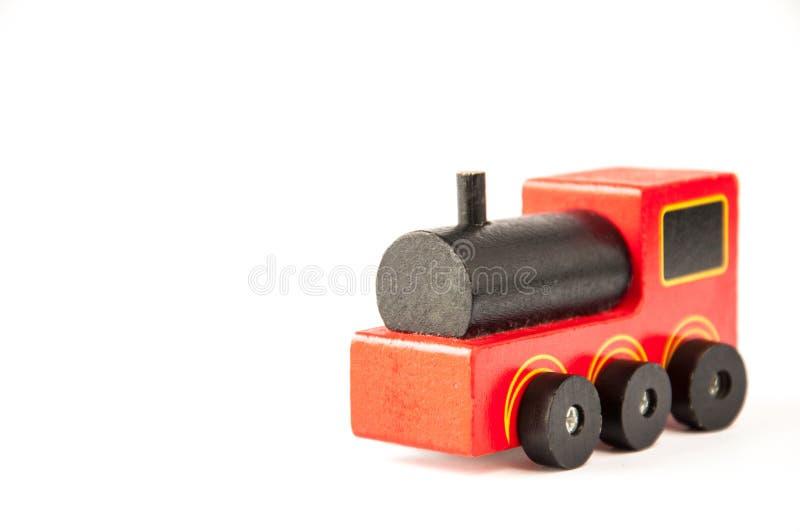 Dziecka ` s zabawka Czerwony drewniany pociąg zdjęcie royalty free