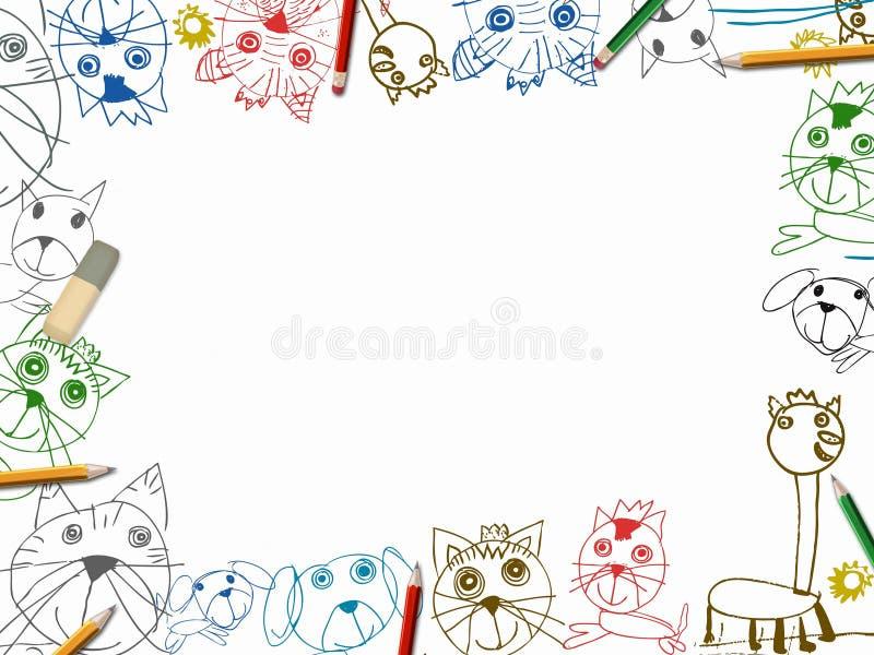 Dziecka sketchbook tło z kolorów ołówkami obramia ilustrację ilustracja wektor