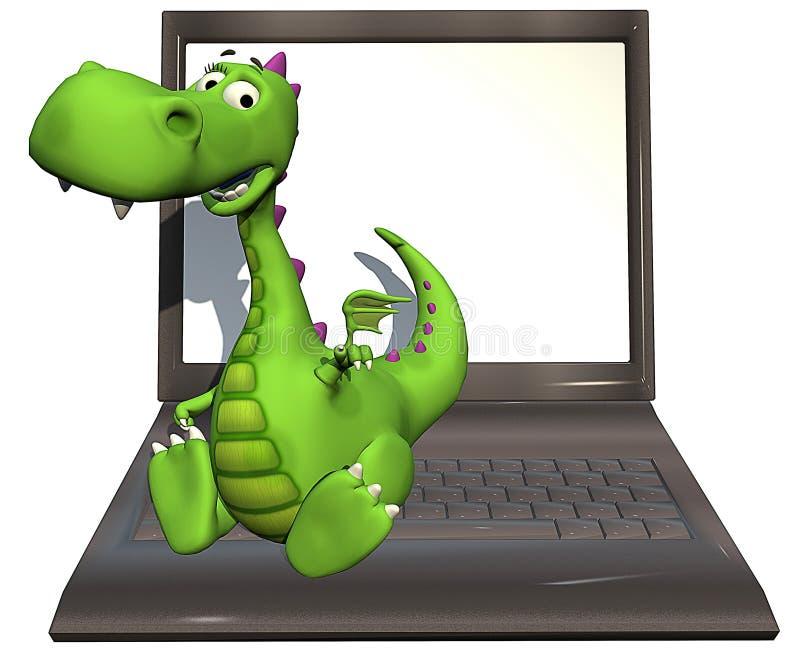 dziecka smoka zieleni laptop ilustracja wektor
