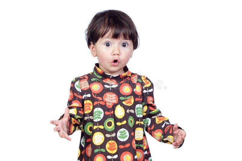 dziecka smokingowa kwiecista dziewczyny niespodzianka fotografia royalty free