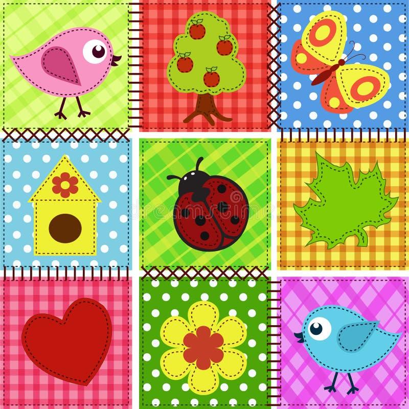 dziecka tła birdhouses ptaków patchwork bezszwowy royalty ilustracja