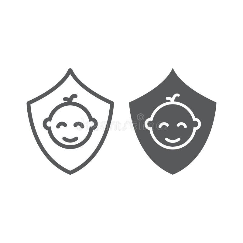 Dziecka ubezpieczenia linia, glif ikona, dzieciaki i opieka, rodzinny ubezpieczenie znak, wektorowe grafika, liniowy wzór na a ilustracji