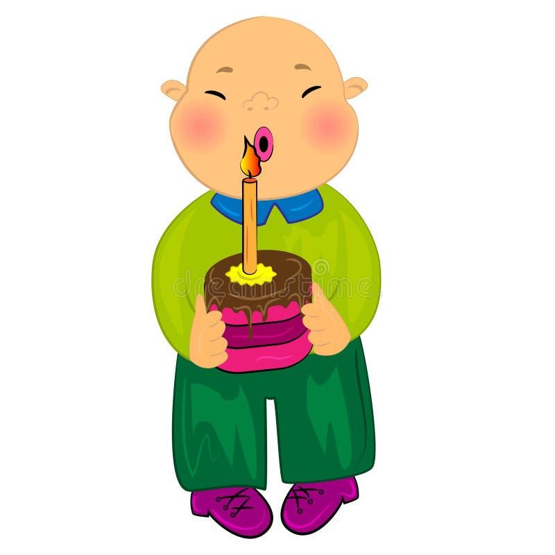 dziecka urodzinowa chłopiec karty kreskówka szczęśliwa royalty ilustracja