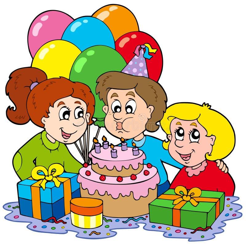 dziecka urodzinowy przyjęcie trzy ilustracji