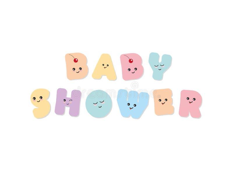 dziecka urodzonej chłopiec karty nowa prysznic Kawaii śmiali kolorowi listy Śliczni majcherów emoticons ilustracja wektor