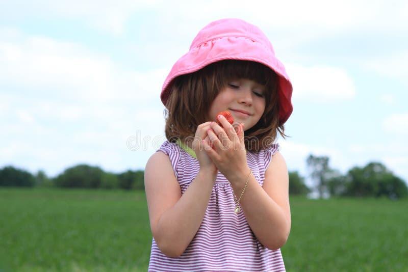 dziecka zrywania truskawki fotografia royalty free