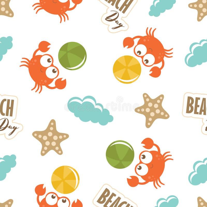 Dziecko śliczny wzór z krabami ilustracja wektor