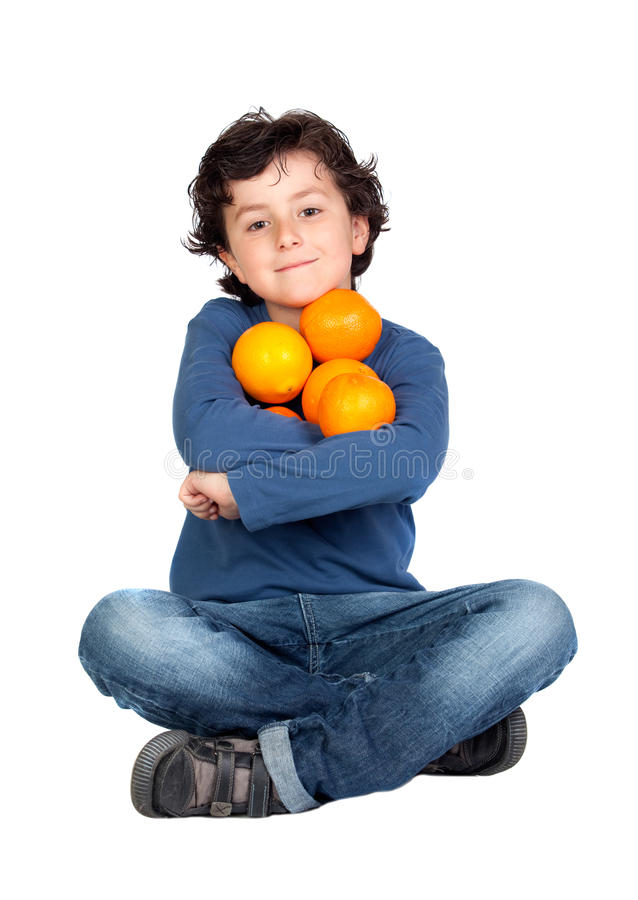 dziecko śmieszny wiele pomarańcze obraz royalty free