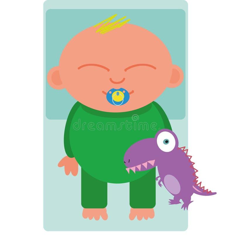 Dziecko śpi z zabawką zdjęcie royalty free