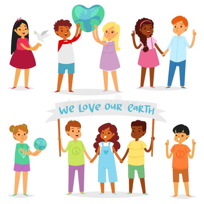 Dziecko światowi wektorowi szczęśliwi dzieciaki w pokoju na planety ziemi i na całym świecie ziemskiej przyjaźni ilustraci pokojo ilustracja wektor