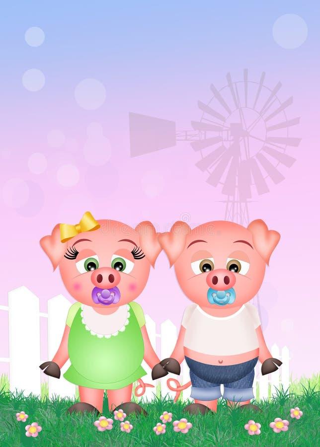 Dziecko świnie w gospodarstwie rolnym royalty ilustracja