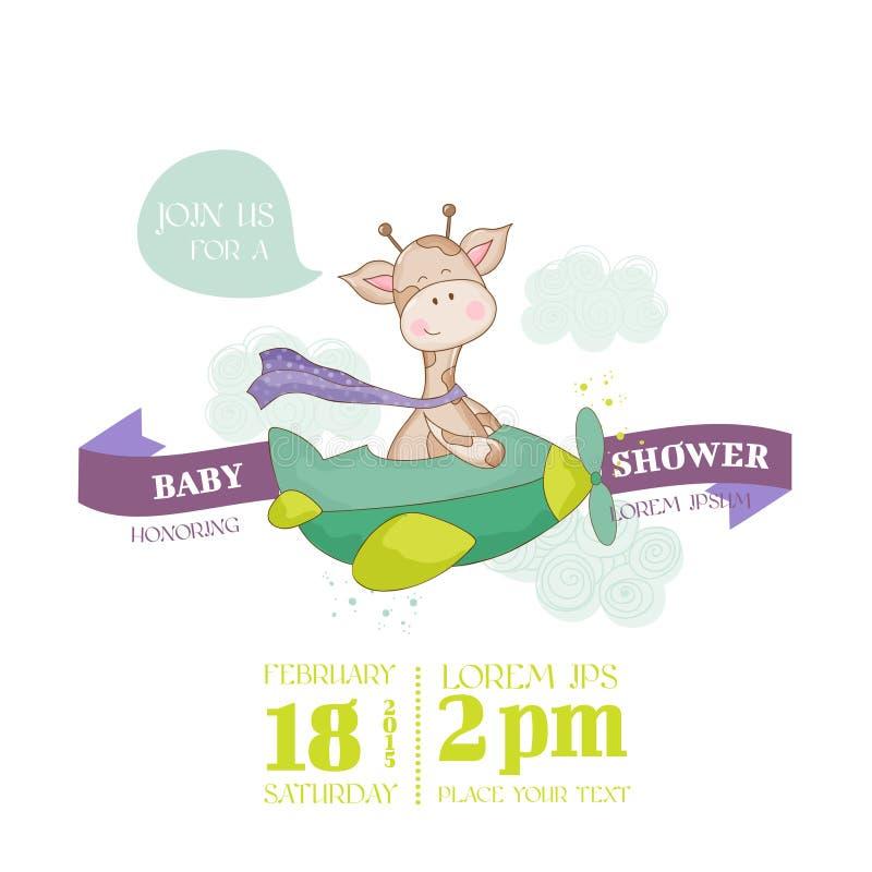 Dziecko żyrafy prysznic karta ilustracja wektor